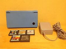 Nintendo DSi Launch Edition Light Blue Bundle w/ Charger & Five Games