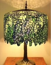 Tiffany Style Stained Glass Table Lamp Shade Blue Wisteria Pull Chain Bedroom
