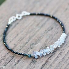 Natural Black Spinel and Tiny Briolette Blue Sapphire Bracelet Solid 14K Gold
