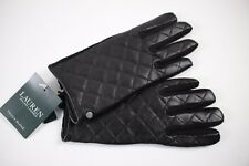 NWT RALPH LAUREN Size M Women's Black Quilted 100% Leather Wool Palm TECH Glove