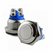 12/16mm Starter Switch / Boat Horn Momentary Push Button Stainless Steel Metal