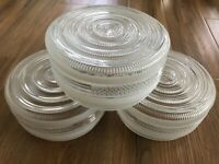 3 Vtg Art Deco Circles Diamond Ribbed Glass Light Globe Shade Ceiling Fixture VG