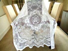 Vintage White Poly/Lace Tablecloth Floral Motif VGC