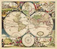 1703 World Map Historic Vintage Style Old World Wall Map Poster - 24x28