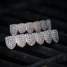 Hip Hop Rose Gold Lab Simulated Diamond Top And Bottom Grillz Set