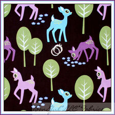 BonEful Fabric Cotton Quilt Brown Blue Purple Deer Tree Branch Flower Dot SCRAP