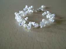 Bracelet Blanc/Cristal pr robe de Mariée/Mariage/Soirée perles nacrées, original