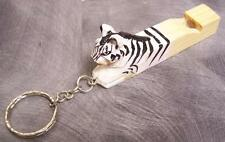 Carved Solid Wood Key Ring Chain whistle Zebra NEW