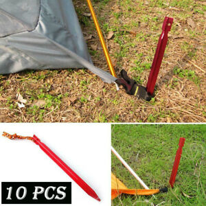 10 Pcs 18cm Aluminum Alloy Outdoor Camping Trip Tent Peg Ground Nail Stakes