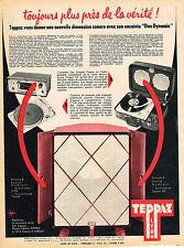 PUBLICITE ADVERTISING 124  1958  TEPPAZ   tourne-disque  éléctrophone 2