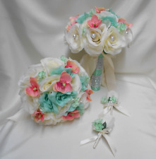 18 Piece Package Silk Flower Wedding Bridal Bouquet IVORY MINT CORAL ORCHID ROSE