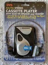 CVS Cassette Player AM/FM Stereo Radio w/ Speaker and Headset