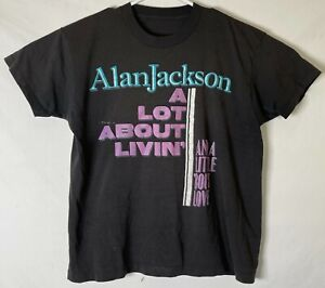 VTG  Alan Jackson A Lot About Livin' 1993 Tour T-shirt  Black Short Sleeve SZ M
