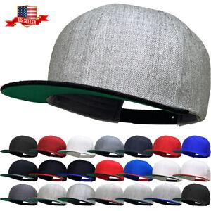 Premium Classic Snapback Wool Blend Plain Basic Cap Hat