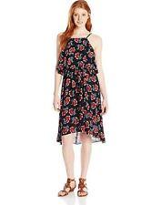 New Angie Junior's Floral High Neck Popover Dress, Floral Black, Large