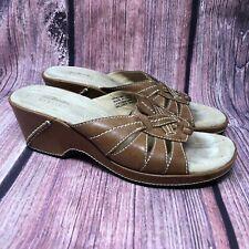 Clarks Artisan Women's Brown Leather Wedge Heel Slides Sandals Size 8 M