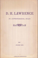 D.H. LAWRENCE... STUDY - INSCRIBED by ANAIS NIN'S husband RUPERT POLE to RENATE