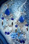 Pendiente Pendientes Alpaca Plata Azul Perlas cristal indio INCA Maya 02