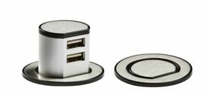 MINI POP UP RECESSED DUAL USB DESKTOP CHARGER POINT - BRUSHED CHROME SK0010