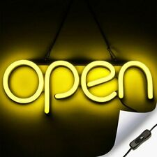 Led Neon Open Sign Light for Business with On & Off Switch - Yellow