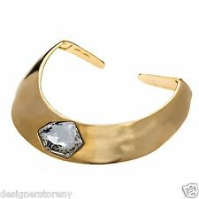 Kenneth Jay Lane polished gold plated hinged collar w/ crystal center necklace