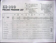 Preload Program List Sheets for Korg EX-800 Synthesizer Midi Module