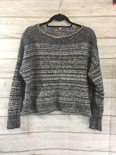 Madewell Threadmix Boatneck Womens Black White Sweater Style E5186 • MEDIUM