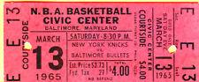 RARE 1965 NBA FULL TICKET-3/13/65 NY KNICKS/BALT BULLETS