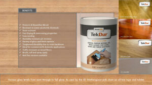TekDur Professional Wood Lacquer/Varnish Fast drying Highly durable hardwearing