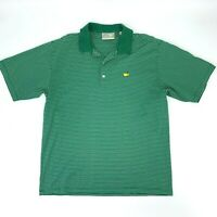Masters Polo Golf Shirt Men's Size L Green Short Sleeve Striped Cotton Athletic