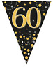 60th Birthday Party Sparkling Age 60 Black & Gold Flag Bunting Banner Decoration