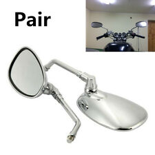 Pair Chrome Oval 10mm Universal Motorcycle Street Bike Side Rear View Mirrors
