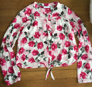 *NWT childrens place pink floral button down blouse top shirt girl XL x large 14