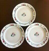 Pfaltzgraff Snow Village Christmas Dinner Plates 11 1/8, Set of 3, V.G. Cond.
