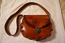 Vintage Handmade 1970's Tooled Leather Boho Hippie Sadle Shoulder Bag