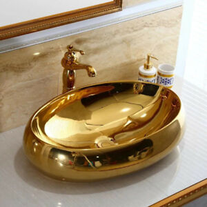 Oval Gold Ceramic Basin Bowl Lavatory Vessel Sinks Mixer Brass Faucet Pop Drain