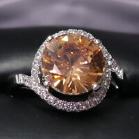 Gorgeous Citrine Halo Ring Women Jewelry Wedding Engagement Gift Free Shipping
