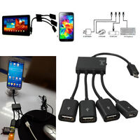 4 Port Micro USB Host OTG Hub Adapter Cable for Android Tab Cellphone SamsungS7.