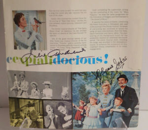JULIE ANDREWS GLYNIS JOHNS AUTOGRAPHS MARY POPPINS