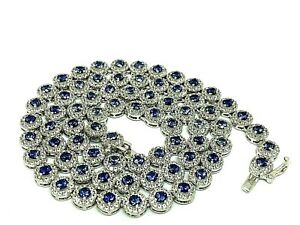 Suzy Levian Sterling Silver Round-Cut Blue & White Cubic Zirconia Necklace 17''