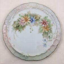 Antique Hand Painted Floral Porcelain Hot Plate Tea Trivet Signed A Hitt 1475