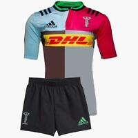 adidas Harlequins Home Mini Kit Infants Red/Blue/Brown Jersey Shorts Rugby Union