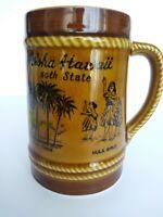 VTG Aloha Hawaii 50th State Ceramic Mug Rope Hula Girl Surfing Palm Tree 24 OZ