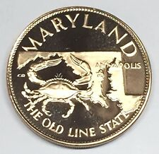 C2885   FRANKLIN  MINT  BRONZE    MEDAL,  STATE OF  MARYLAND