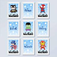 Superhero Quote Prints Boys Childrens Bedroom Wall Art Nursery Decor Pictures