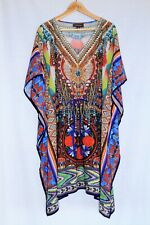 AUTOGRAPH Plus Size 18 Floral Aztec Embellished V-Neck Kaftan Swimsuit Cover Up