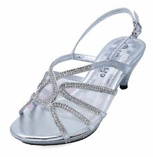GIRLS CHILDRENS SILVER DRESS-UP DIAMANTE LOW-HEEL SANDALS PARTY SHOES SIZES 10-2