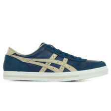 Chaussures Baskets Asics homme Aaron taille Bleu marine Bleue Cuir Lacets