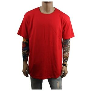 Men T-Shirt BIG AND TALL Long Extended Casual Plain Basic Crew Neck Fashion S-5X