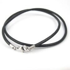 "Silver Stainless Steel Lobster Clasp 16"" 38cm 3mm Black Leather Cord Necklace"